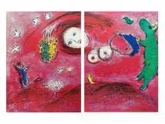 Spring in the Meadow, Daphnis & Chloe Diptych 1977 Limited Edition, Marc Chagall