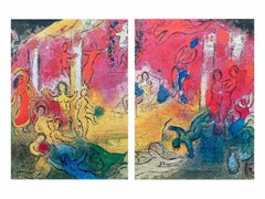 Temple and History of Bacchus, Daphnis & Chloe 1977 Diptych Ltd Ed, Marc Chagall