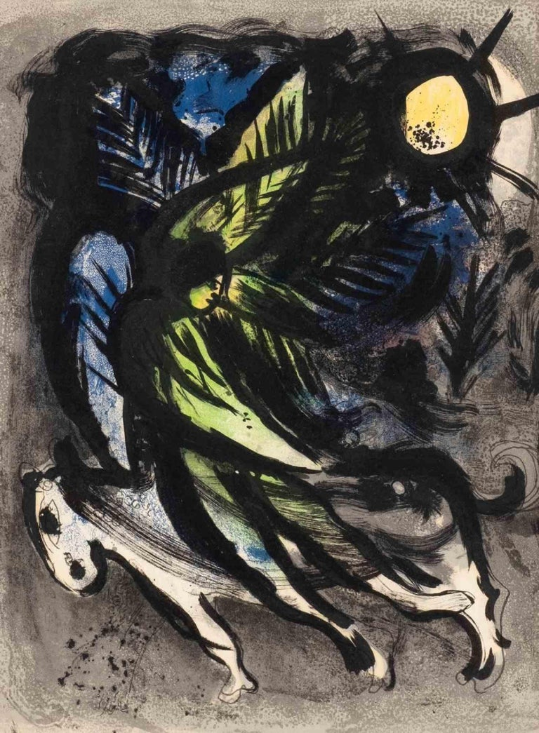 The Angel is an original Contemporary Artwork realized by Marc Chagall (Vitebsk, 1887 – Saint-Paul-de-Vence, 1985) in 1982.  Original color lithograph on buff paper.  Plate Dimensions: 31.5 x 23.5 cm.  Total Dimensions: 58.5 x 49.5 cm.  Framed in a