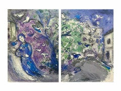 The Bird Chase, Daphnis & Chloe 1977 Diptych Limited Edition, Marc Chagall