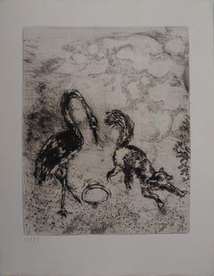 The Fox and The Stork - Original Etching - Ref. Sorlier #102