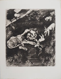 The Goats and the Lion - Original Etching - Ref. Sorlier #198