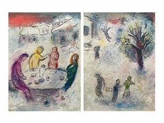 The Meal at Dryas's House, Daphnis & Chloe Diptych 1977 Ltd Edition Marc Chagall