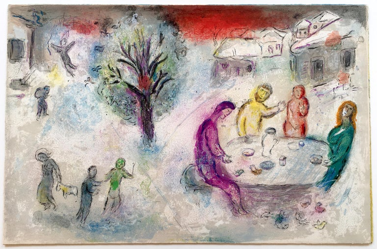 Marc Chagall Landscape Print - The Meal at Dryas's House, from Daphnis and Chloe