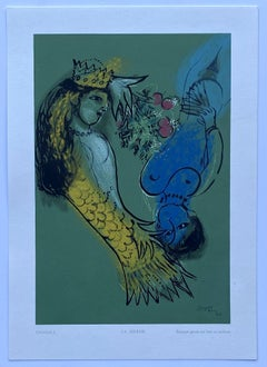 The Mermaid - Woodcut in colors signed in the plate