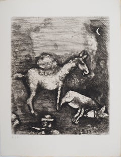 The two mules - Original etching - Ref. Sorlier #197