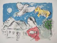 The Village (Woman, Bird and Donkey) - Original lithograph (Mourlot #917a)