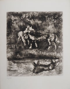 The Wolf and The Lamb - Original Etching - Ref. Sorlier #98