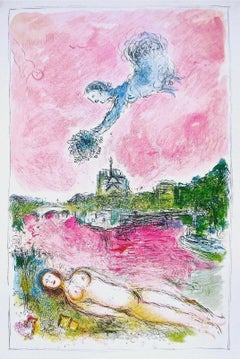 View of Notre-Dame, 1981 Lithograph, Marc Chagall