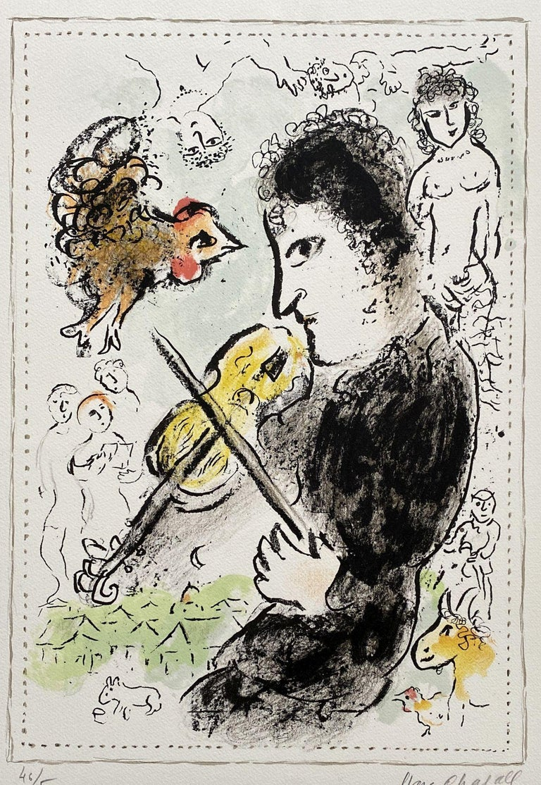 Violonist with a cock - Original lithograph Handsigned - Mourlot #1000  - Print by Marc Chagall