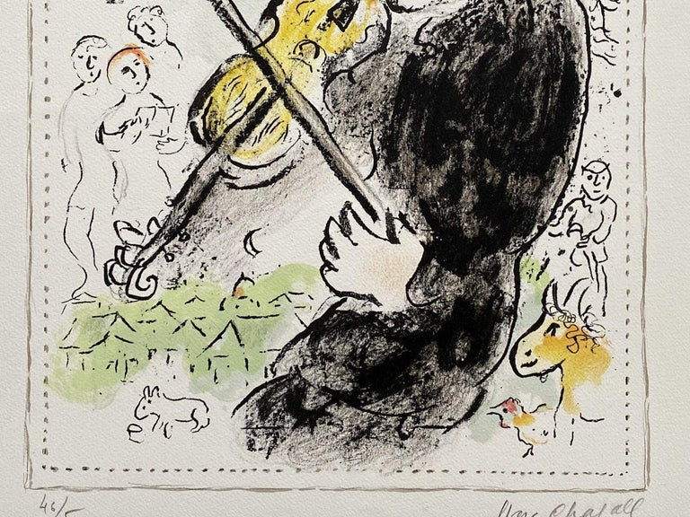 Marc CHAGALL Violonist with a cock, 1982  Original lithograph (Mourlot workshop) Handsigned in pencil Numbered 46 / 50 On Arches vellum 65 x 50 cm (c. 26 x 20 in)  REFERENCES : Catalog raisonne Mourlot #1000  Very good condition but a light fold at