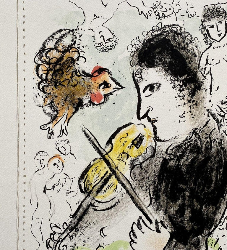 Violonist with a cock - Original lithograph Handsigned - Mourlot #1000  For Sale 2