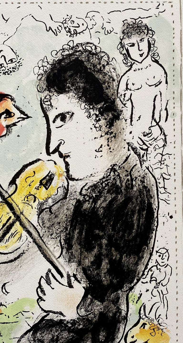 Violonist with a cock - Original lithograph Handsigned - Mourlot #1000  For Sale 3