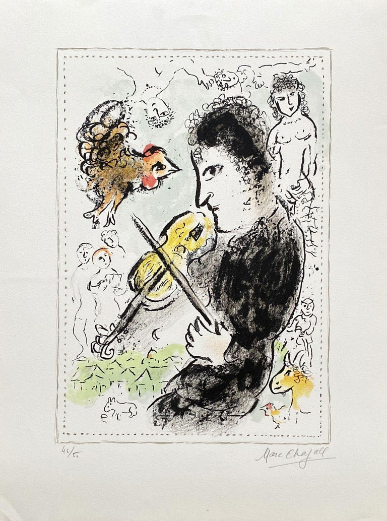 Marc Chagall Figurative Print - Violonist with a cock - Original lithograph Handsigned - Mourlot #1000