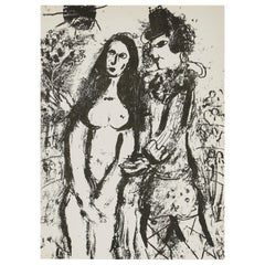 Marc Chagall 'The Clown In Love' Lithograph