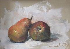 """Bartlett Pear Duo"" - Contemporary Realism - Still Life - Manet"