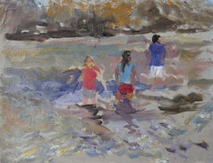 """Summertime"" - Contemporary Impressionism - Figurative Beach Scene - Manet"