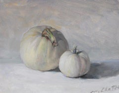 """White Pumpkins"" - American Realist Painting - Still Life - Manet"