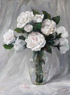 """White Roses"" - Contemporary Realism - Still Life - Manet"