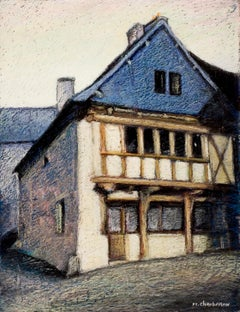 French Half-Timbered House with Slate Roof Oil Pastel