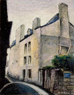 House with Chimneys in Small French Village Empty Street Oil Pastel