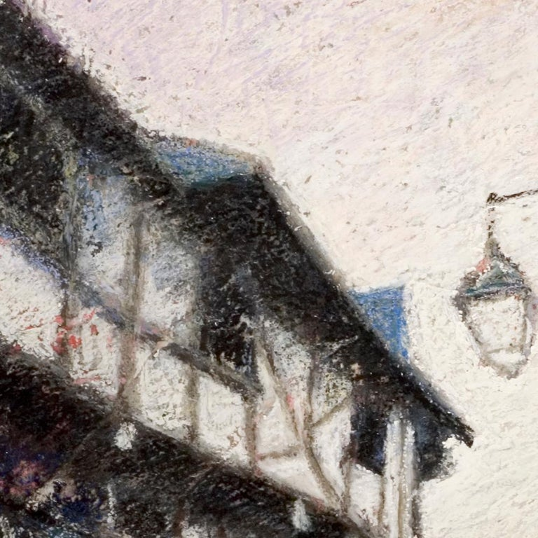 Small French Village Empty Stairway Street with Half-Timbered Houses Oil Pastel For Sale 6
