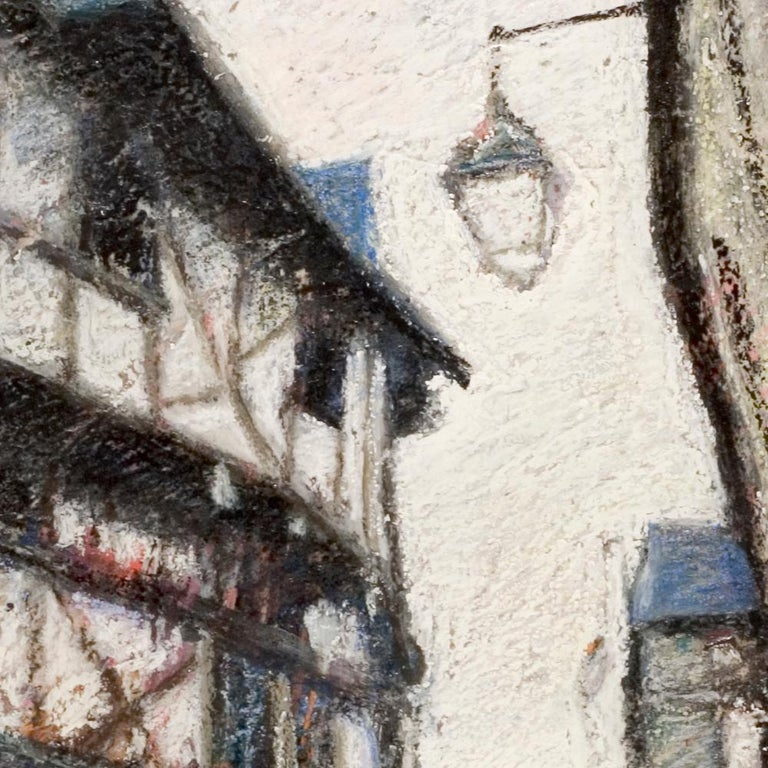 Small French Village Empty Stairway Street with Half-Timbered Houses Oil Pastel For Sale 7