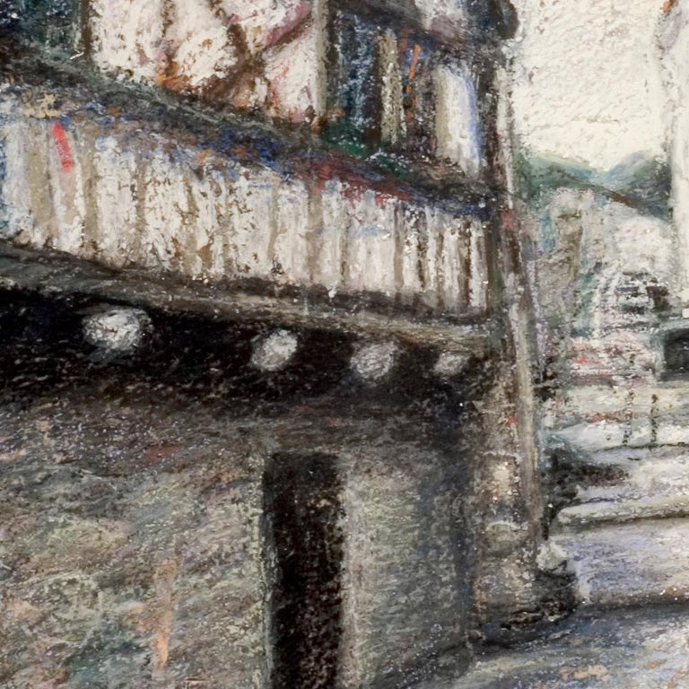 Small French Village Empty Stairway Street with Half-Timbered Houses Oil Pastel For Sale 8