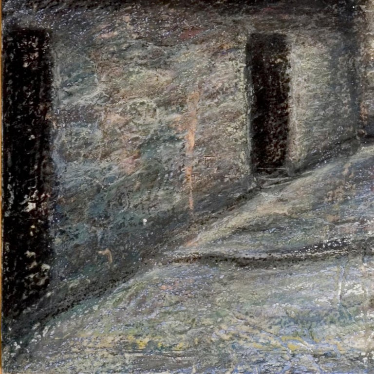 Small French Village Empty Stairway Street with Half-Timbered Houses Oil Pastel - Impressionist Painting by Marc Chaubaron