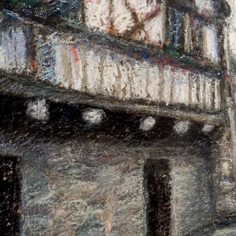 Small French Village Empty Stairway Street with Half-Timbered Houses Oil Pastel For Sale 1