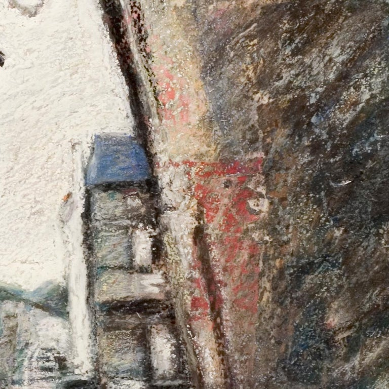 Small French Village Empty Stairway Street with Half-Timbered Houses Oil Pastel For Sale 2