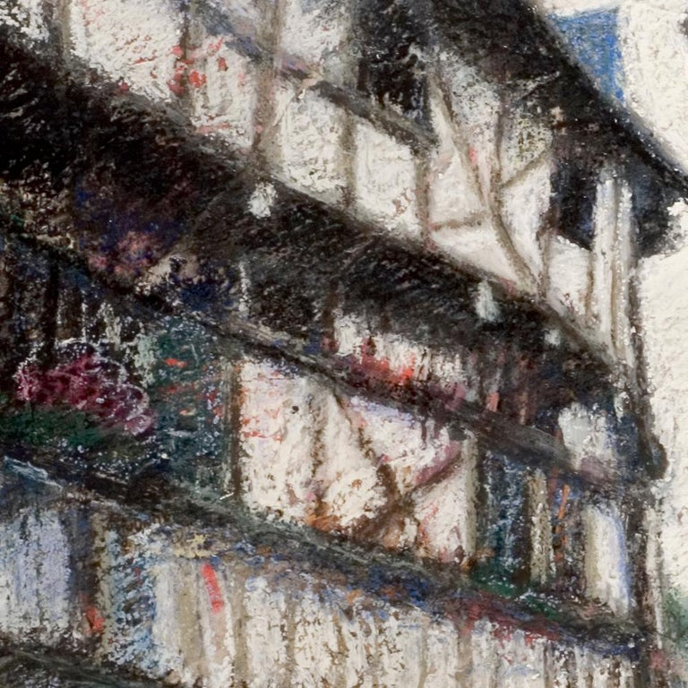 Small French Village Empty Stairway Street with Half-Timbered Houses Oil Pastel For Sale 3