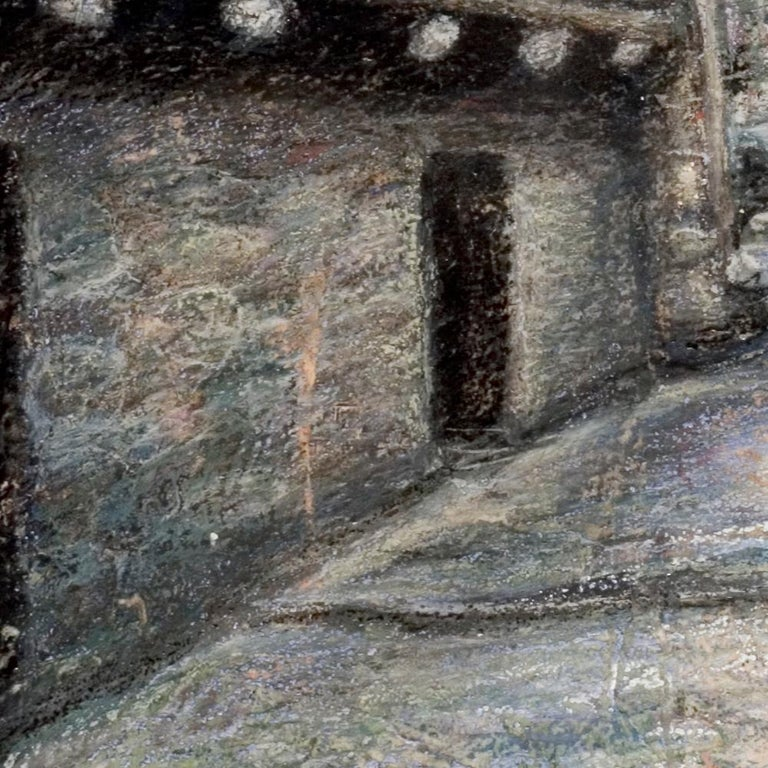 Small French Village Empty Stairway Street with Half-Timbered Houses Oil Pastel For Sale 4