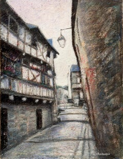 Small French Village Empty Stairway Street with Half-Timbered Houses Oil Pastel