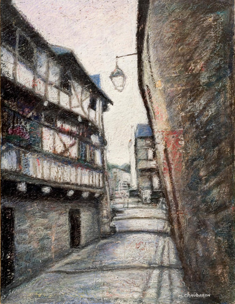 Marc Chaubaron Landscape Painting - Small French Village Empty Stairway Street with Half-Timbered Houses Oil Pastel