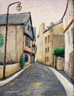 Small French Village Empty Street with Old Style Street Light Oil Pastel