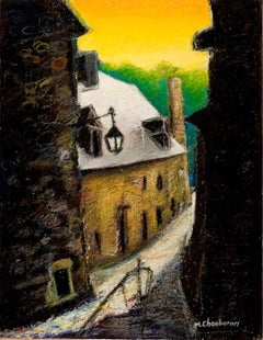 Small French Village Empty Street with Stone Houses and Orange Sky Oil Pastel