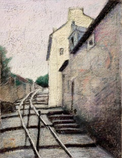 Stairs Bording Houses in a Small French Village Oil Pastel