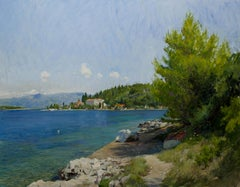 A view of the Estuary at Vrnik in Croatia, Oil on canvas, framed