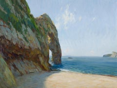 Beach landscape with an ancient arch in the cliffs