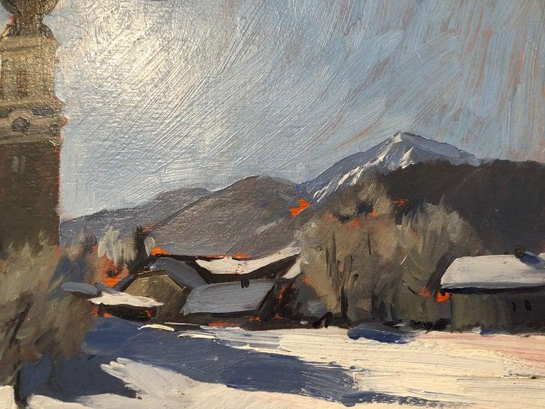 Faistenau - Gray Landscape Painting by Marc Dalessio