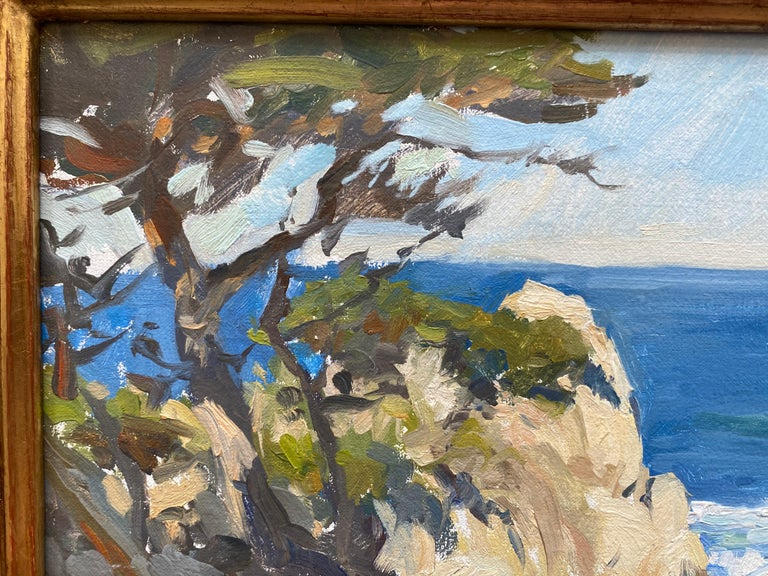 Painted en plein air, on site, a shaded foreground places us atop cliff, overlooking waves crashing onto rocky shore beneath the cliffs at Point Lobos, California. Dalessio later used this sketch to create a larger painting