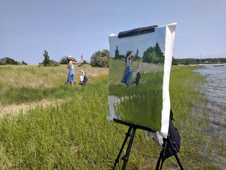 Painted en plein air, on the East End of Long Island. Dalessio captures his wife, Tina, as she paints a landscape in open air. A classical impressionist painting in the contemporary world!  Marc Dalessio was born in 1972 in Los Angeles, California.