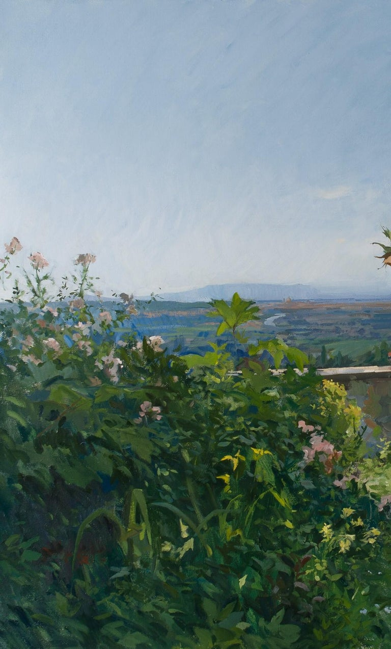 View of a terrace with Florence in the distance - Painting by Marc Dalessio