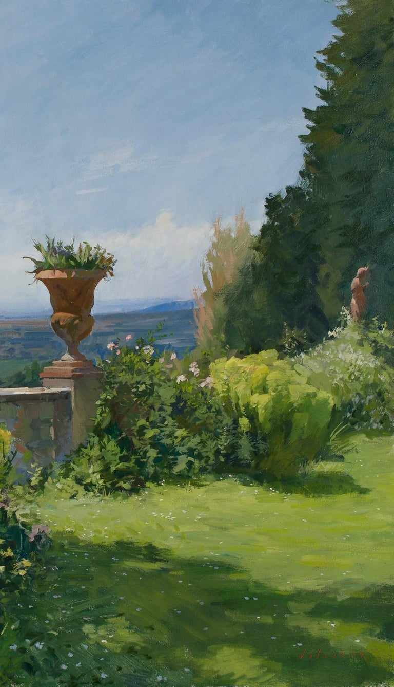 View of a terrace with Florence in the distance - American Modern Painting by Marc Dalessio