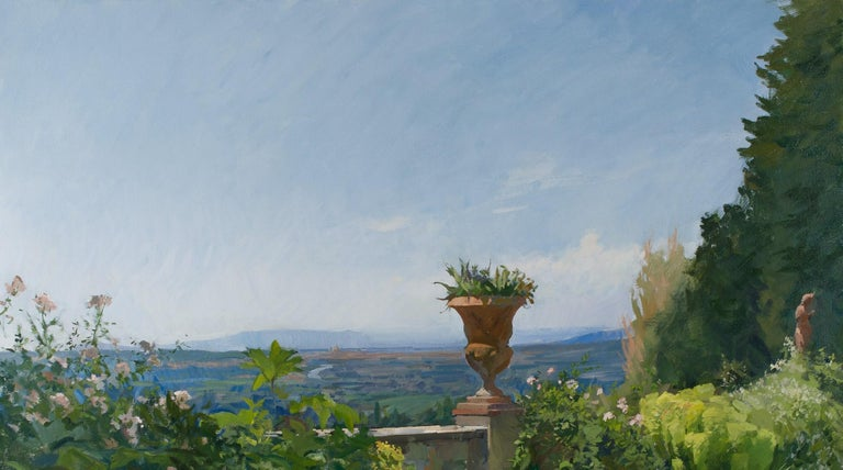 View of a terrace with Florence in the distance - Black Landscape Painting by Marc Dalessio