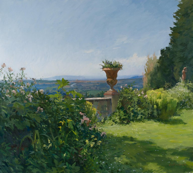 Marc Dalessio Landscape Painting - View of a terrace with Florence in the distance