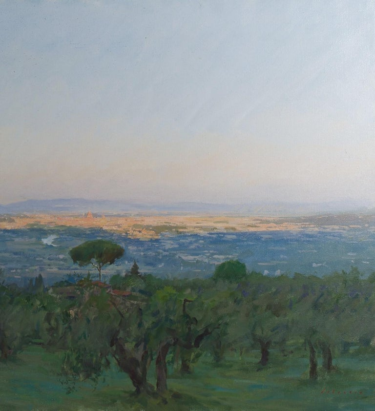 View of Florence, Oil on canvas, Framed - Painting by Marc Dalessio
