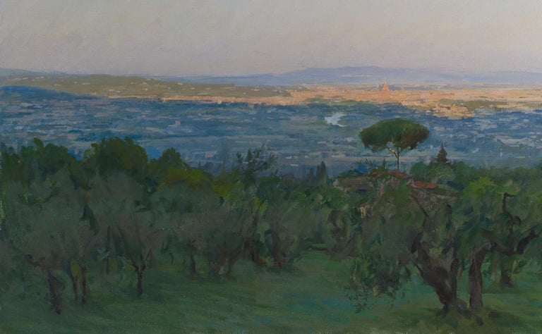 View of Florence, Oil on canvas, Framed - Impressionist Painting by Marc Dalessio