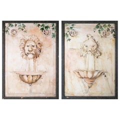 Marc Deis 2003 Pair of Wall Fountains Watercolour Paintings